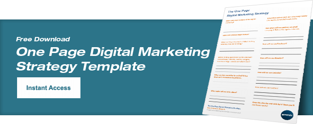 One Page Digital Marketing Strategy Template